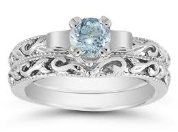 aquamarine wedding 1 carat deco aquamarine bridal ring set 14k white gold