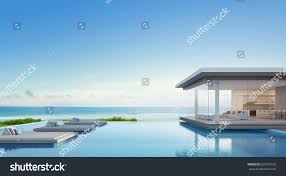 luxury beach house sea view swimming stock illustration 651976183