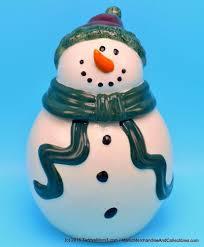 ganz bella casa snowman cookie jar green scarf red hat christmas