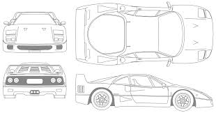 lamborghini aventador drawing outline 1987 ferrari f40 coupe blueprints free outlines