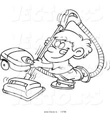vector of a cartoon happy boy using a vacuum coloring page