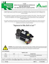 air suspension p 2134 rev 5 user manual 6 pages
