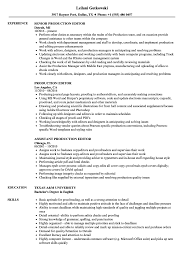 production editor resume sles velvet jobs