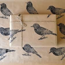 bird wrapping paper lino printed bird wrapping paper wrapping papers and bird