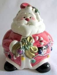 ceramic ornament cookie jar painted white green