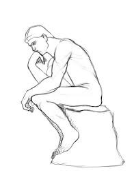 the thinker statue by auguste rodin sclupture coloring page art