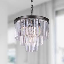 Crystal Glass Chandelier Justina 5 Light Antique Black Chandelier With Crystal Glass Prisms