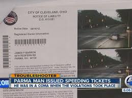 Red Light Camera Ticket Parma Man Issued Cleveland Traffic Camera Tickets While In A Coma