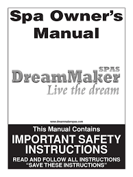 dreammaker spas technical manual hyperthermia alkalinity