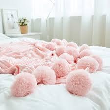 light pink throw blanket pom pom throw blanket apollobox