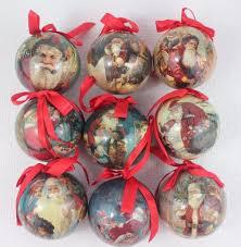 world santa ornaments decoupage balls set