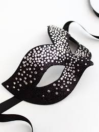 luxury black silver swarovski bird mask