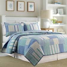 bedroom reversible cotton nautica quilts with light blue green
