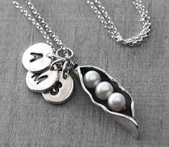 silver necklace with pearls images Personalized silver pearl peas in pod mother 39 s necklace with jpg