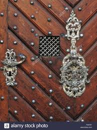 republic prague wooden door with silver ornaments stock