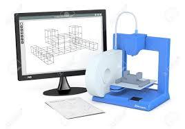 one 3d printer with a sketch document and a computer monitor