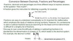 6 percentages conversion between fractions decimals and percentages