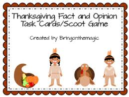 thanksgiving fact and opinion task cards scoot by bringonthemagic