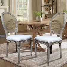 lux home louis beige cane dining chair set of 2 dwc 455bg the