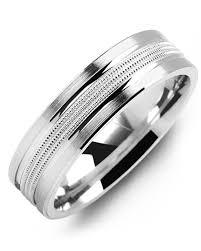 mens double rings images Men 39 s double milgrain brush gold wedding band madani rings jpg