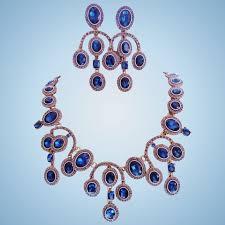 blue crystal necklace set images Signed oscar de la renta sapphire blue crystal statement necklace jpg
