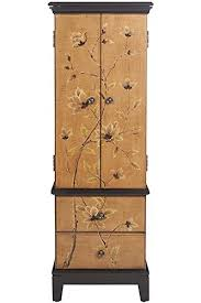 brown jewelry armoire amazon com lotus jewelry armoire 46 hx16 wx12 d tan brown