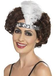 flapper headbands flapper headband silver with feather athlone jokeshop and