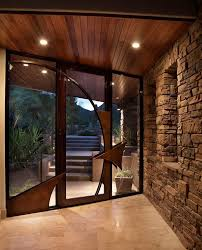 clear alder wood entry contemporary with stone wall contemporary semi