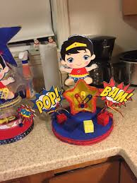 baby shower centerpiece for wonder woman baby shower my