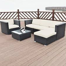 Costway  PC Patio Rattan Furniture Set Sectional Cushioned Seat - Rattan furniture set