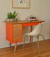 vintage orange mid century desk trevi vintage design