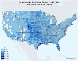 Counties In Texas Map Map U S Tornadoes By County 1950 2011 U S Tornadoes