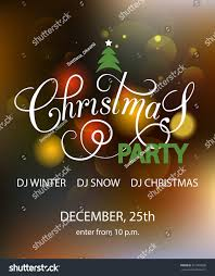 Christmas Invitation Cards Template Christmas Party Blurred Background Design Template Stock Vector