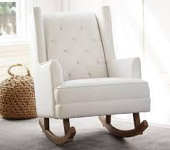 Nursery Rocking Chairs Uk Modern Tufted Wingback Convertible Rocker Pottery Barn
