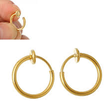 clip on earrings s doreen box brass non piercing clip on hoop earrings s gold