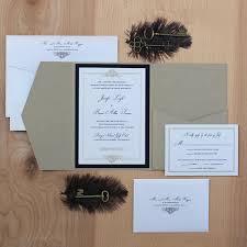 Invitation Pocket Elegant Wedding Invitation Black And Gold Invitation Pocket Fold