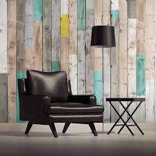 papier peint trompe l oeil chambre décoration murale en bois usé