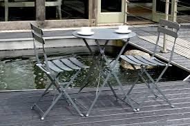 Grey Bistro Chairs Folding Garden Furniture Set Bau Outdoors