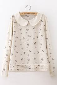 cat blouse meow purrfection cat print pan collar blouse in