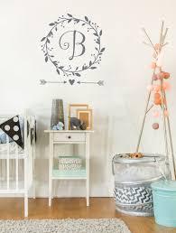 24 monogram wall decals nursery girl name monogram wall decals monogram wall decal baby girl nursery wall decal wreath monogram