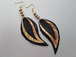 black feather earrings gold black feather earrings statement earrings boho