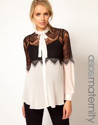 blouses with bows lyst asos lace insert bow blouse in black