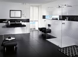 black and white bathroom wallpaper white wall mounted sink modern