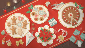 christmas table banner dishes with cookies dessert and