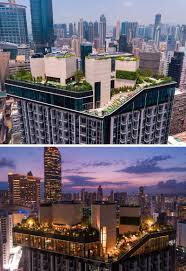 this building in hong kong has a rooftop park and private