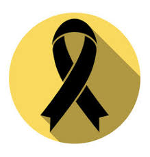 black and yellow ribbon yellow awareness ribbon royalty free vector image