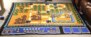mario bros 3 maps one the kingdom with a crocheted mario