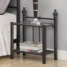 grey metal bedside table nightstand metal and glass nightstands cube nightstand wood base