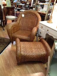 pottery barn malabar chair rattan and ottoman however mine has