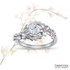 wedding ring japan japanese cherry blossom engagement ring takayas custom jewelry